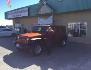 Christine Ready to go with her awesome looking Jeep!