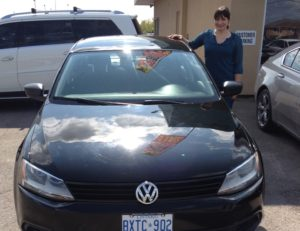 Robin picking up her VW!