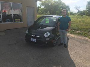 Brandon and his shiny black fiat!